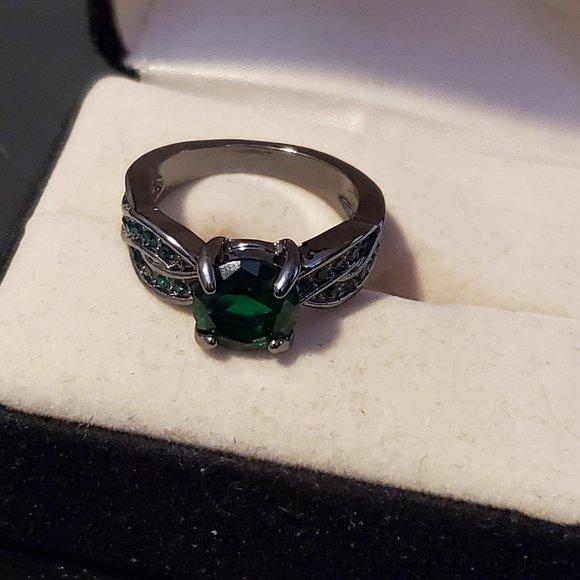 Size 6 Black Rhodium Plated Emerald Ring Rhineston